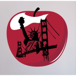 An apple with famous NY landmarks. Moving to Harlem is a big opportunity.