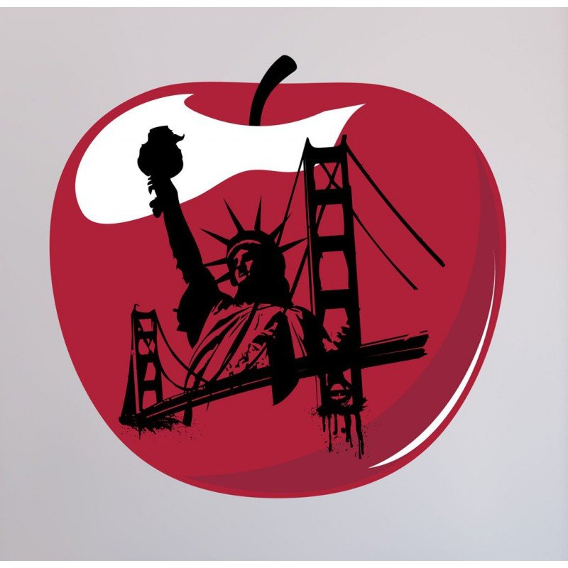 An apple with famous NY landmarks