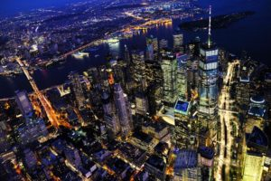 Manhattan view from the sky during the night