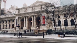 The New York Public Library Main Branch view of the front entrance and steps