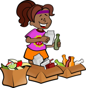 Girl is separating items in the boxes.
