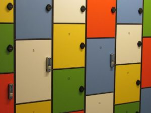 Storage units in different sizes and colors