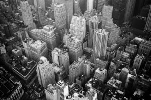 Manhattan dreaming in areal Black & White buildings.