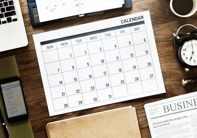 Calendar on a table