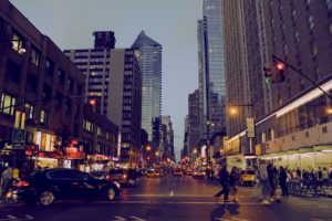 A street with people in New York