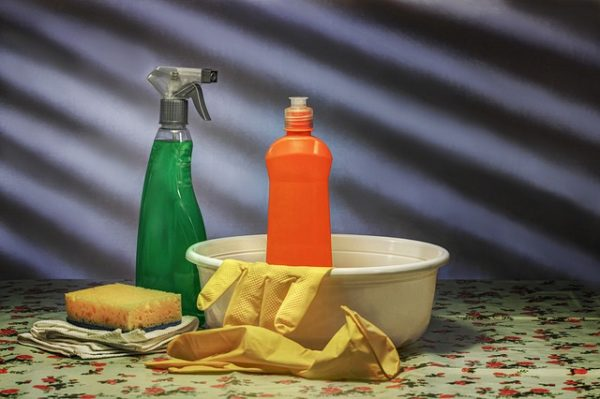 Clean your new house with cleaning supplies.