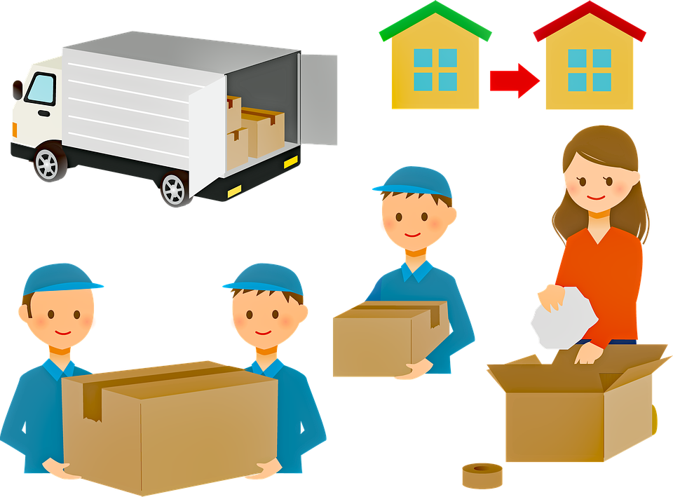 animated moving truck and moving boxes