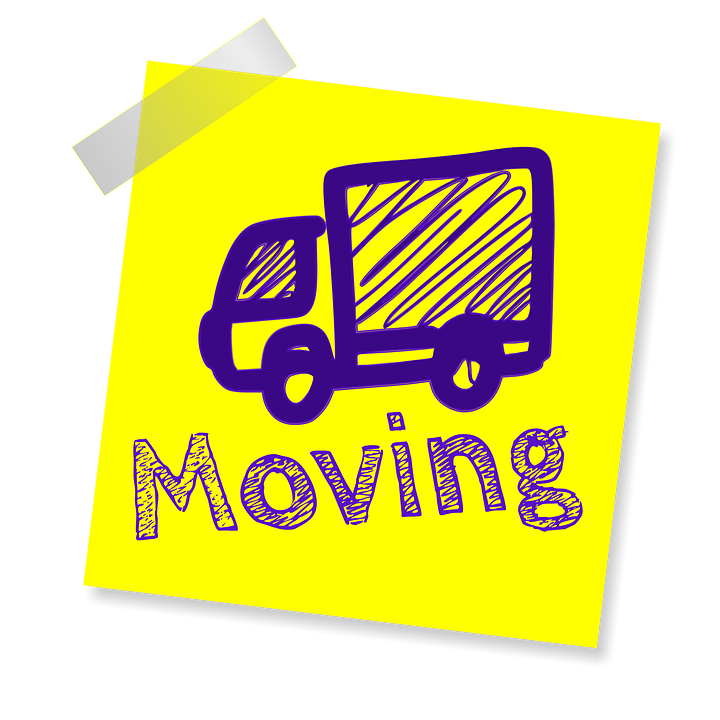 cheap movers with a drawn truck on sticky note