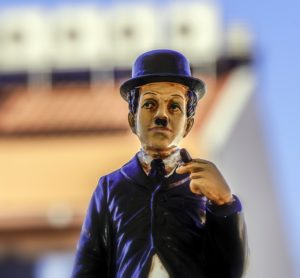 A Charlie Chaplin figure - one of famous actors and actresses from Manhattan