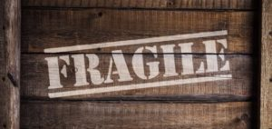 Wooden box with text FRAGILE