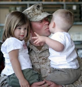 Solider takes care of his family