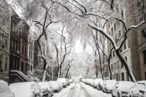 Snow-covered street of Brooklyn