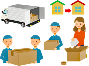 A depiction of people packing together with their professional movers