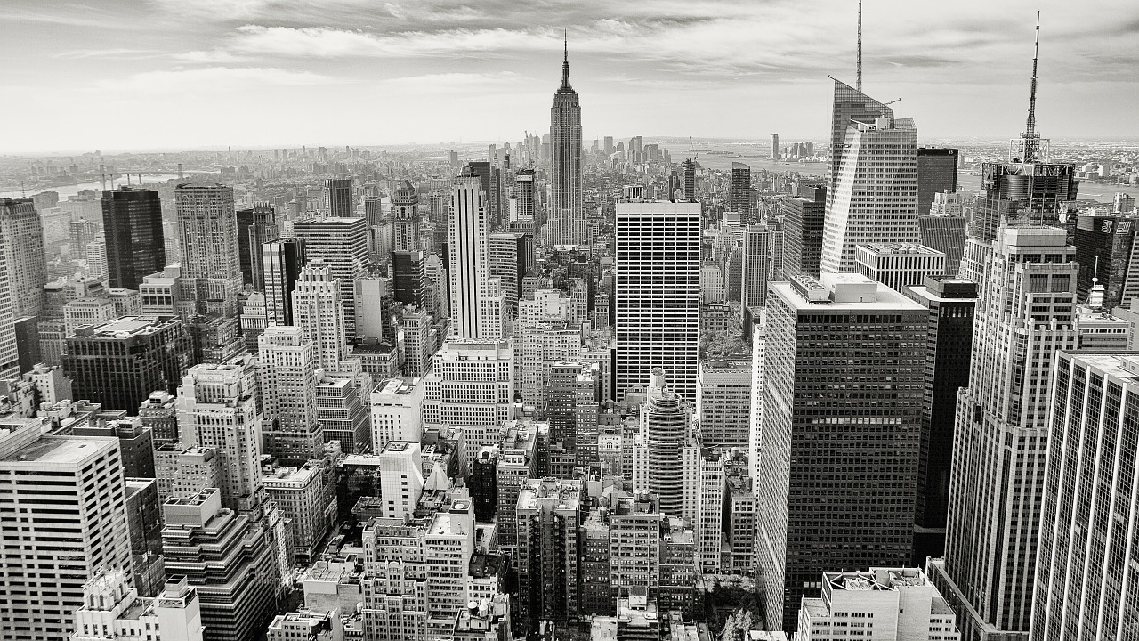 Aerial view of Manhattan in black and white.