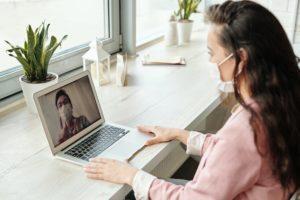 A couple talking on Skype