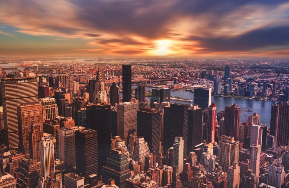 New York City during the sunset