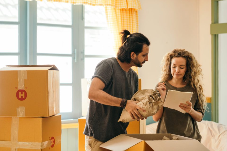 couple packing their items