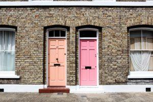 two pink doors