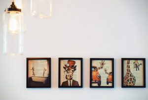 Four paintings on the wall