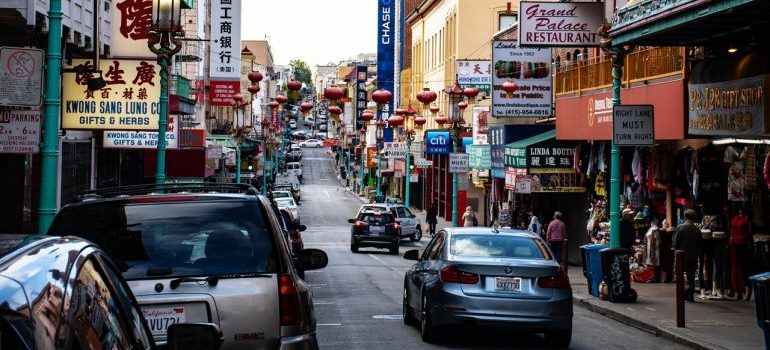 A busy street in Chinatown